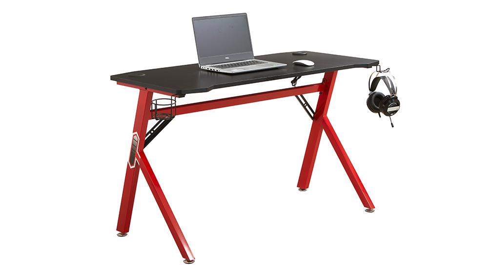 ગેમિંગ ડેસ્ક કમ્પ્યુટર ટેબલ કમ્પ્યુટર વિશિષ્ટ વપરાયેલ બ્લેક અને લાલ એમડીએફ પીસી ટેબલ