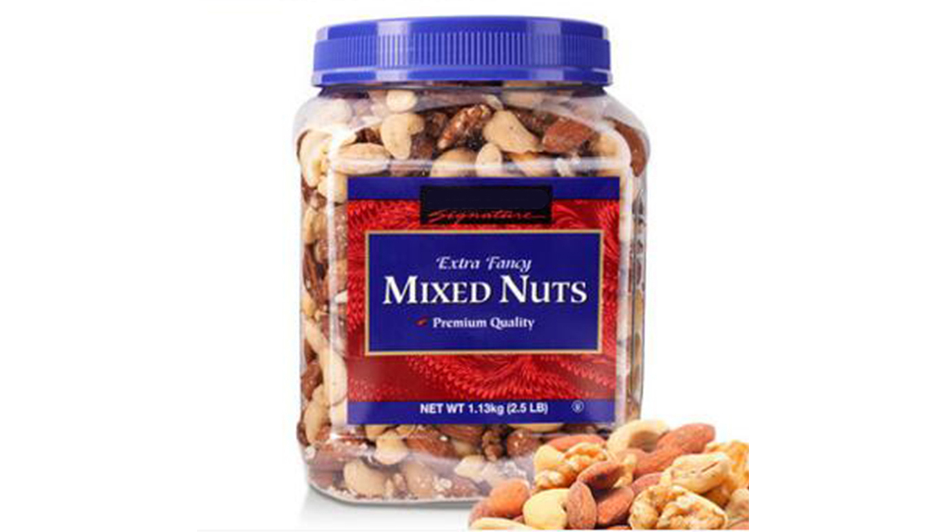 2.5LB Pet Clear Roasted Nuts Packaging Jars, Large Square Pinch Grip ถั่วผสม / อัลมอนด์