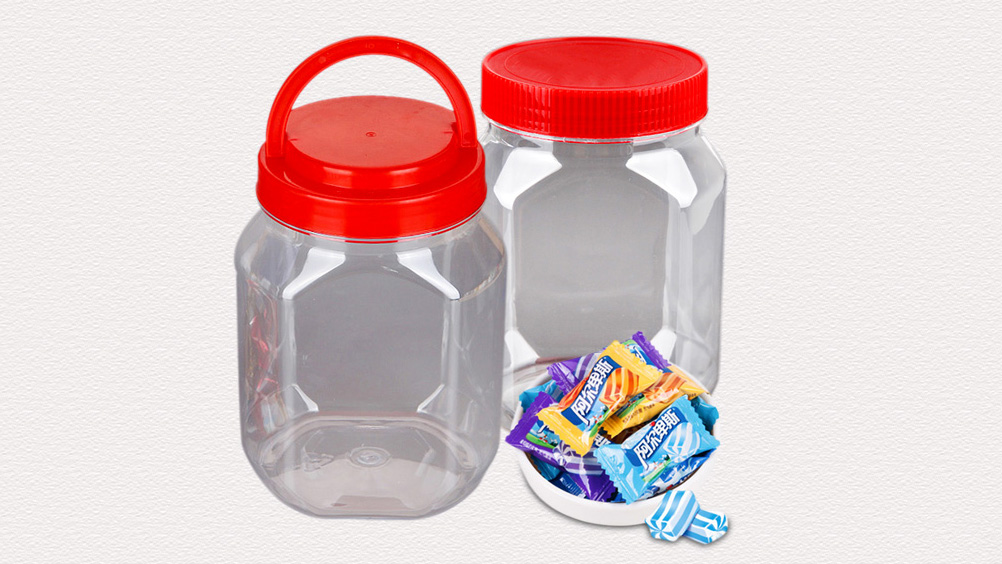 1 liter clear plastic pickle containers, square airless plastic snack jars, large food packaging