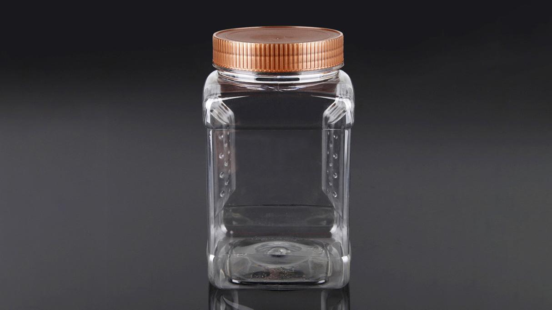 50oz Празна ПЕТ пластична ПЕТ фаќачка квадратна храна тегла со капак за пакување печени / солени кикирики