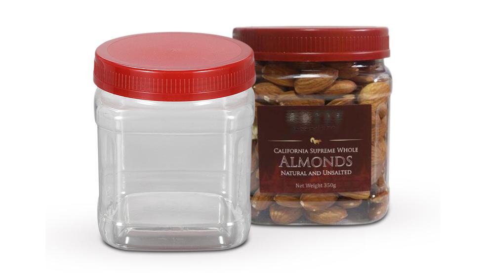 Botella cadrada de 20 oz para envases de froitos secos, botella de plástico de calidade alimentaria de 600 ml