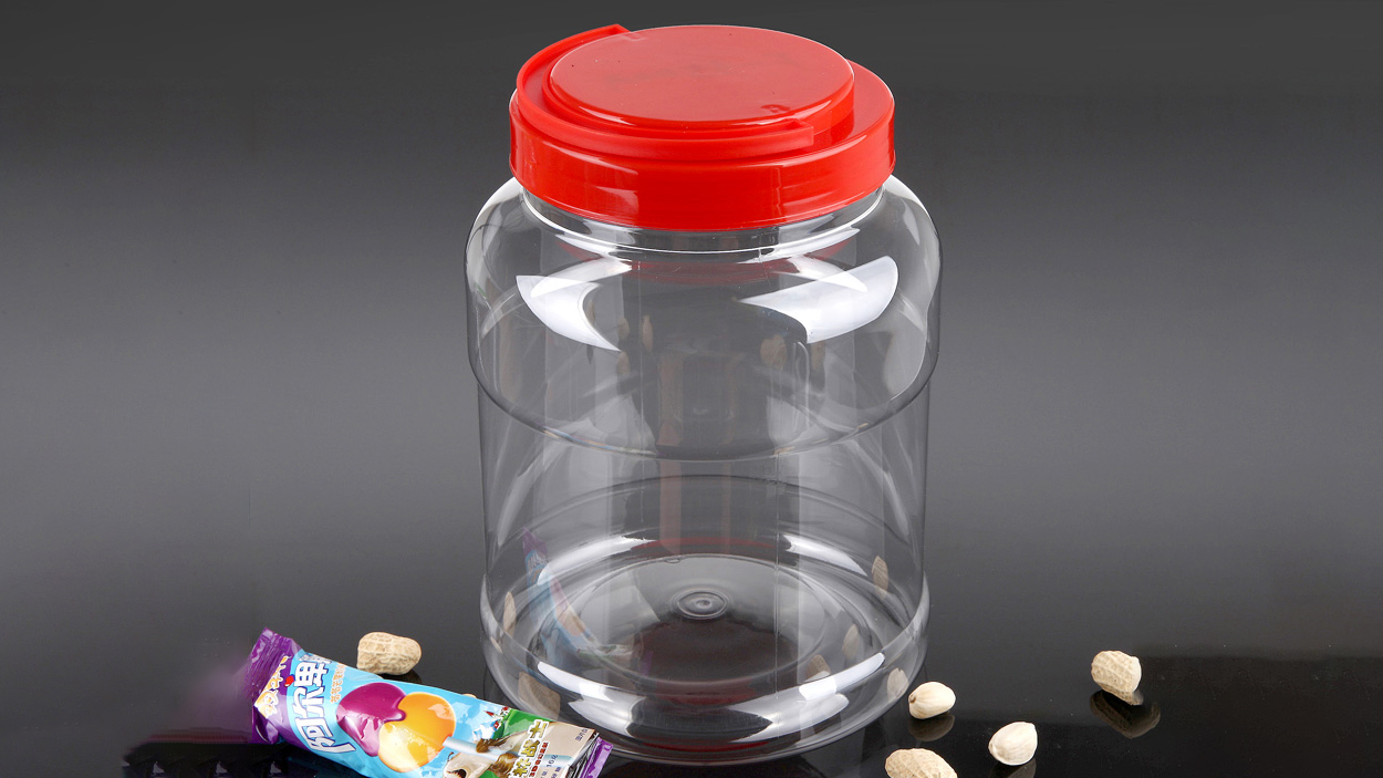 Prozirna, PET plastična tegla velike veličine 3,5L s poklopcem ručke