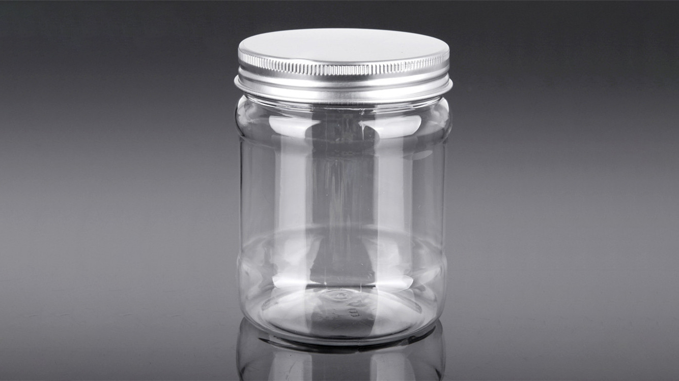 Customized 20 OZ Clear Cylindrical PET Plastic Jar with Aluminum Lid for Food manufacturers FromChina