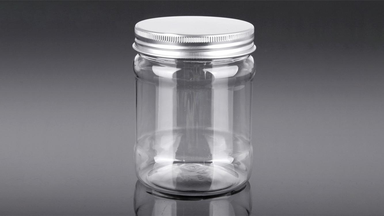 Tarro de plástico PET PET cilíndrico de 20 oz con tapa de aluminio para alimentos