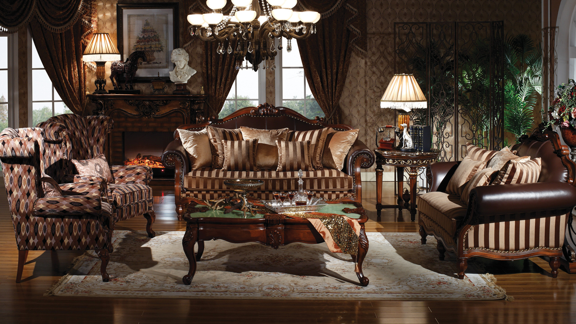 French style oak sofa set furniture living room | Goodwin GH51.1