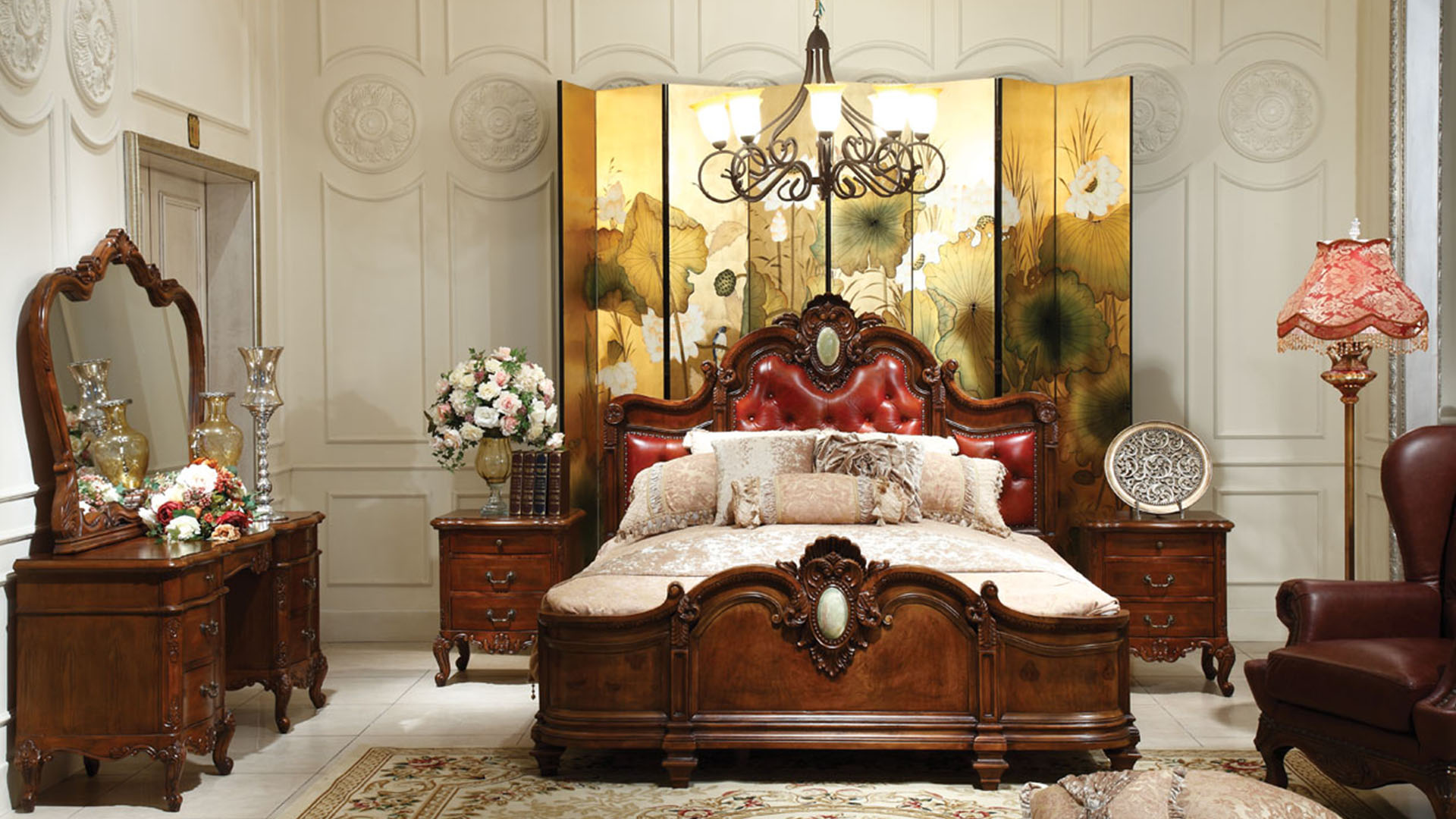Goodwin furniture Middle east style leather double bed made with solid wood GH14.2
