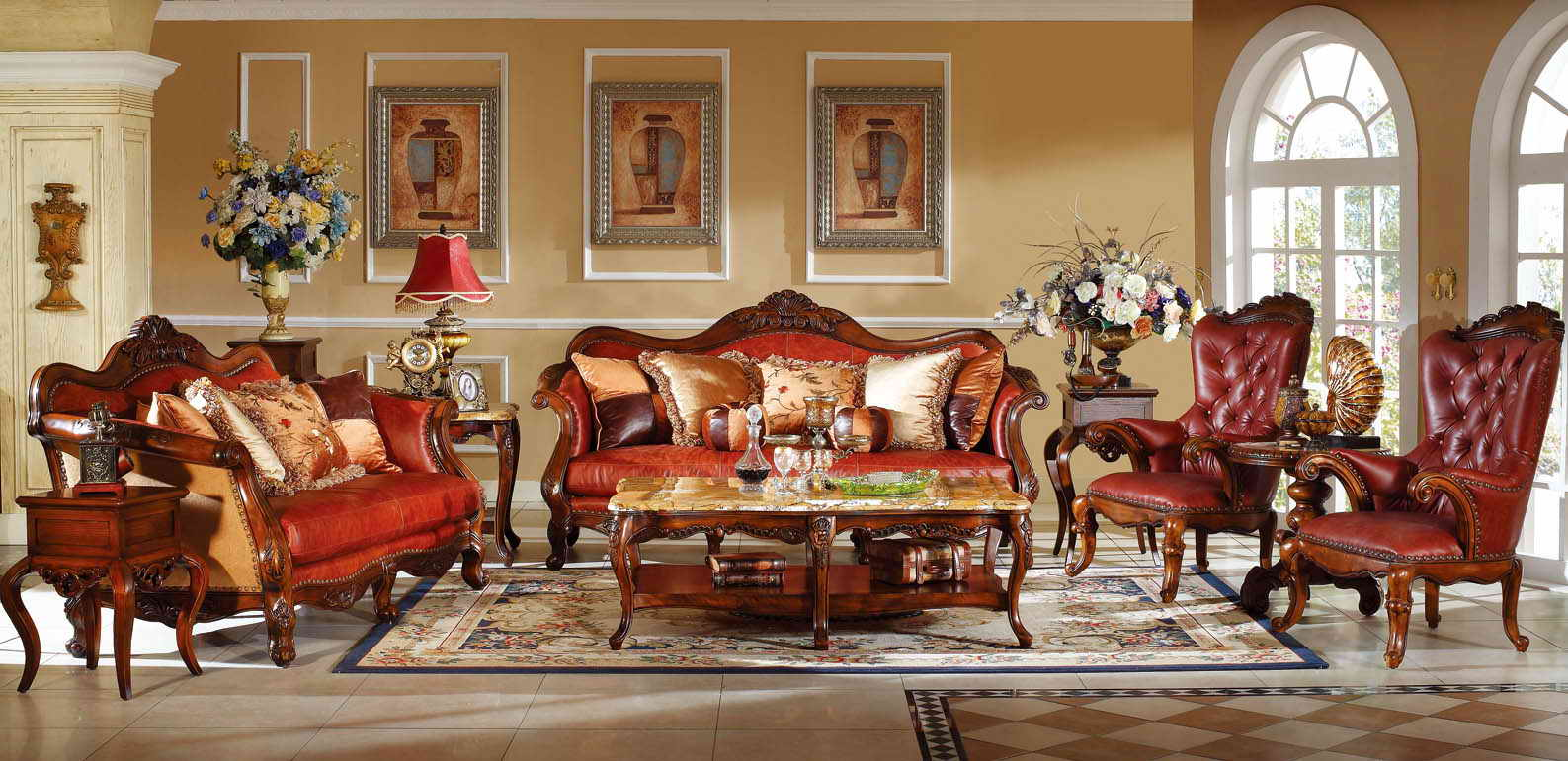 Goodwin Furniture Hot-sale antique wooden leather sofa sectional furniture supplier GH58.2