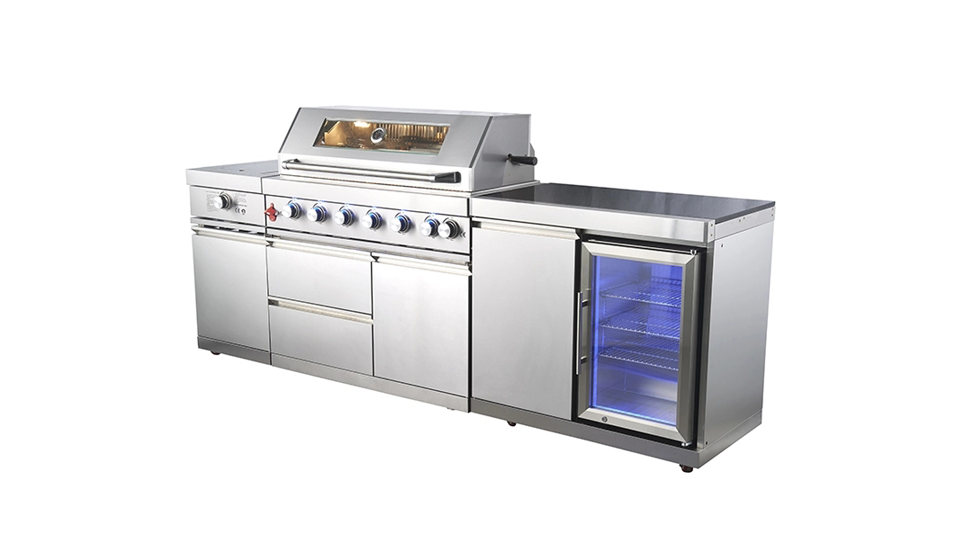 WST-001-2-1-S Custom Outdoor Kitchen Garden Barbecue New Designed Stainless Steel BBQ Gas Grill With Refrigerator