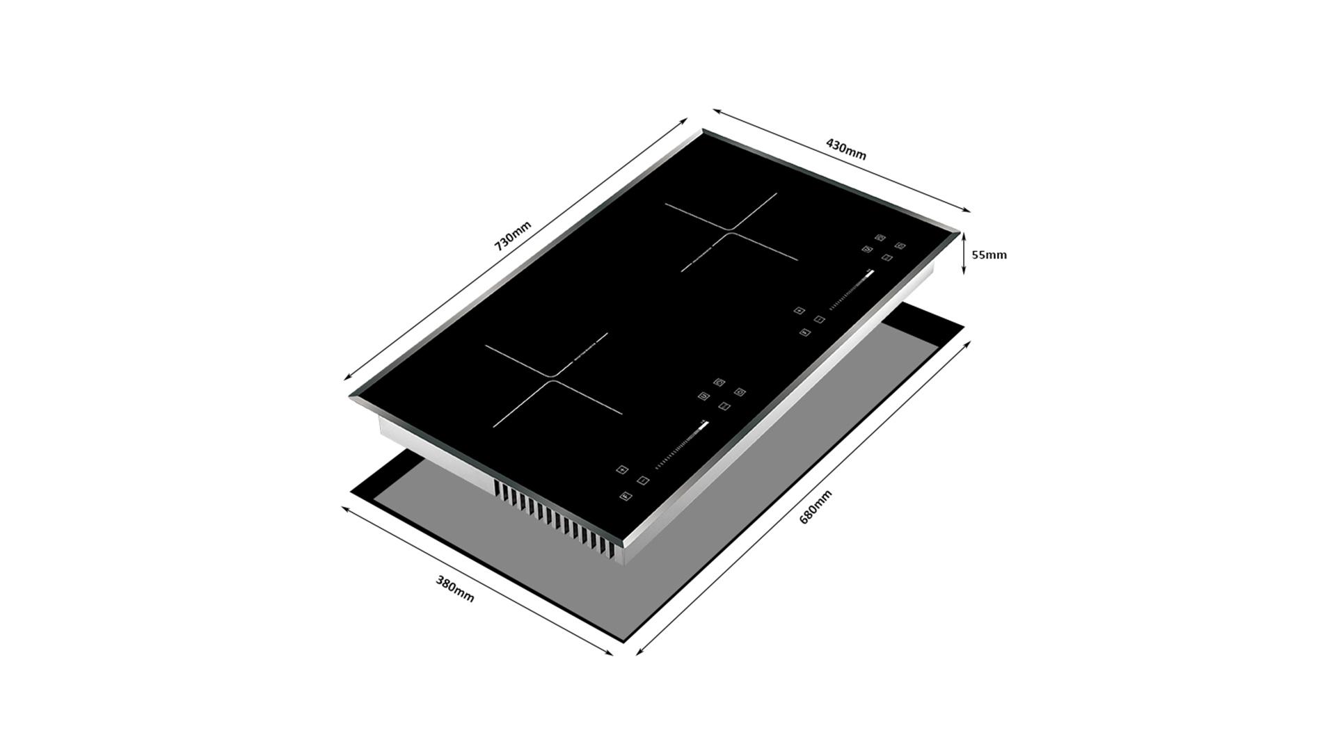 Nhà sản xuất bếp từ cảm ứng hai đầu đốt tích hợp thông minh 8125-203