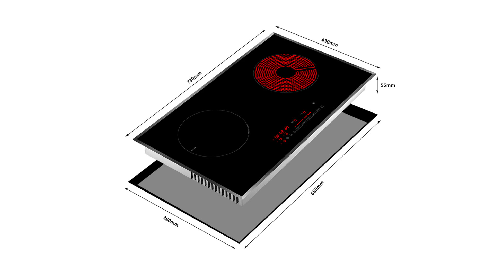 Produsen Desain Asli Cina Shenzhen H-One Half Bridge Induction Technology Built-In Horizontal Two Burner Hybrid Induction Cooktop 8223-255