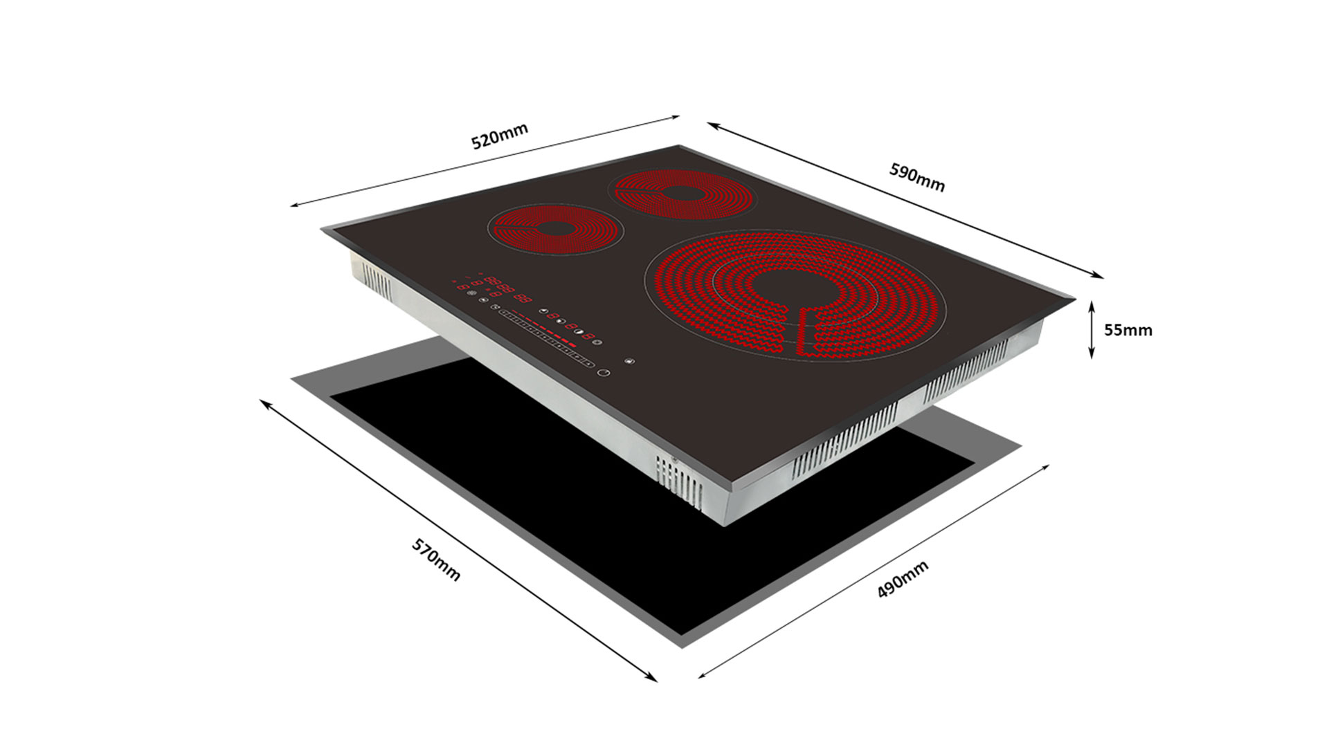 Produsen Desain Asli Cina Shenzhen H-One Built-In Three Burner Ceramic Hob 8330-257