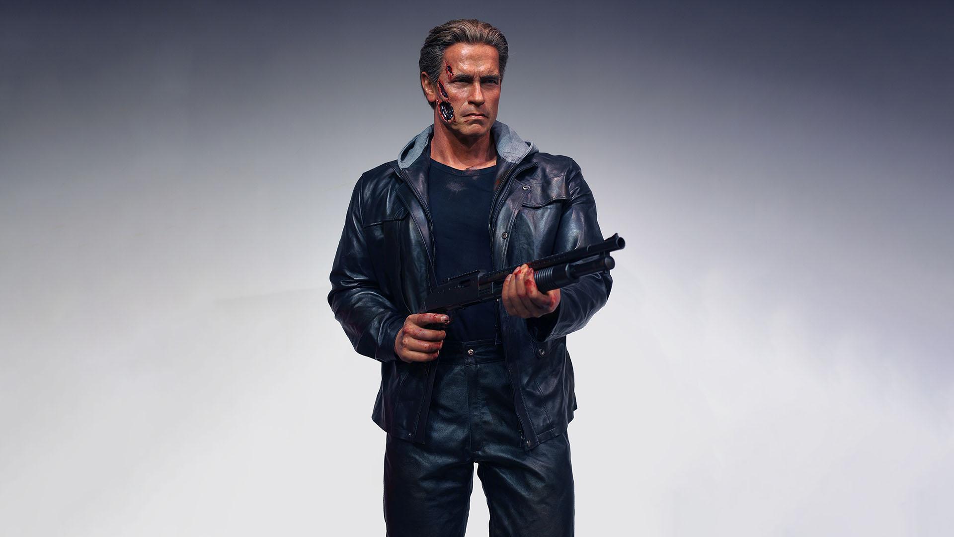 Meilleure taille vie Arnold Schwarzenegger Terminator Figurine de cire