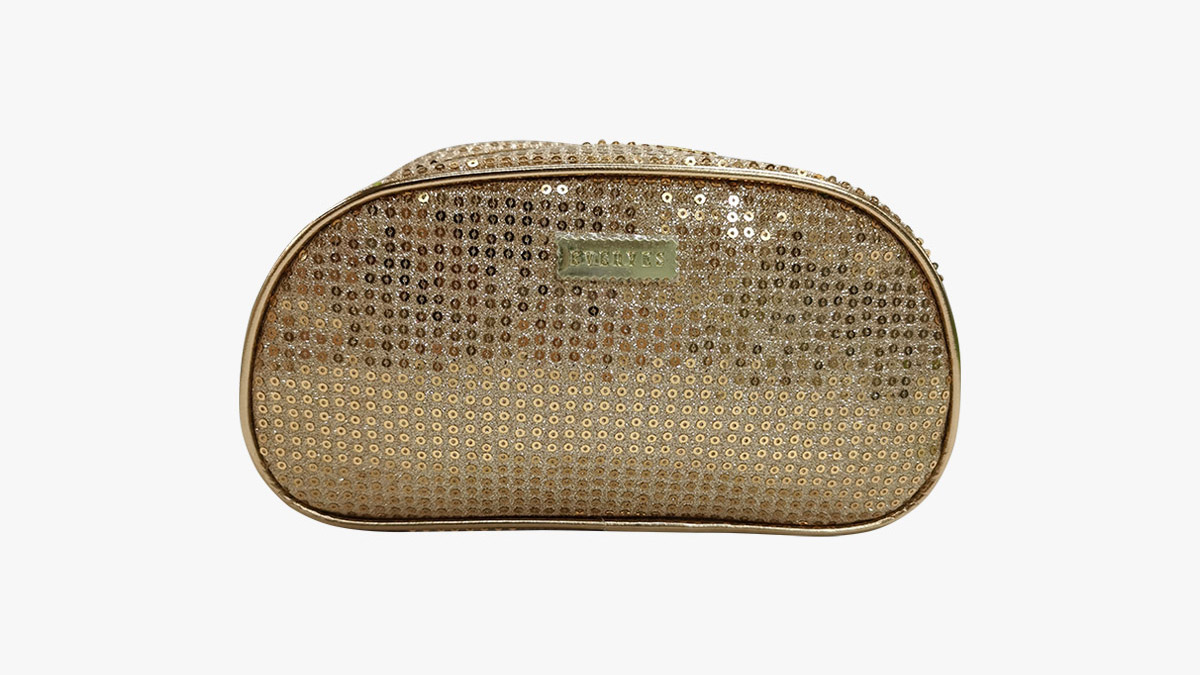 Gold sequined high capacity waterproof makeup bag