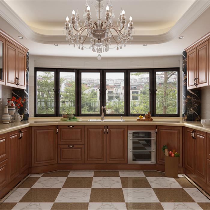 American Kitchen Wall Hanging Solid Wood Complete Veneer Oak Kitchen Cabinet Sets