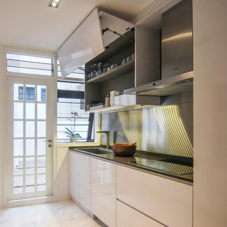 Australian project pictures modern high gloss white lacquer kitchen cabinet