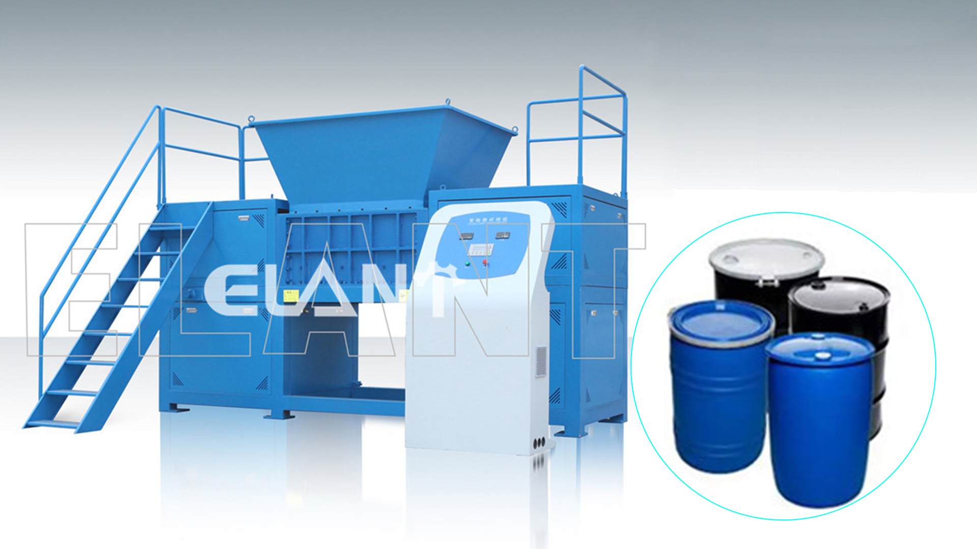 Customized Metal Cans Plastic Blue Drum Bucket Plastic Shredder Machine Manufacturers From China