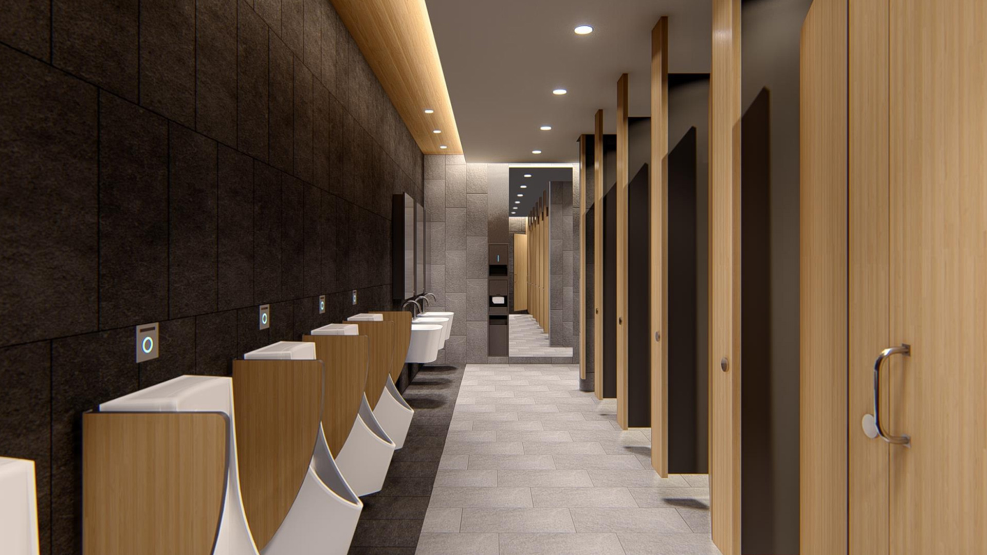 Customized phenolic toilet partitions for public