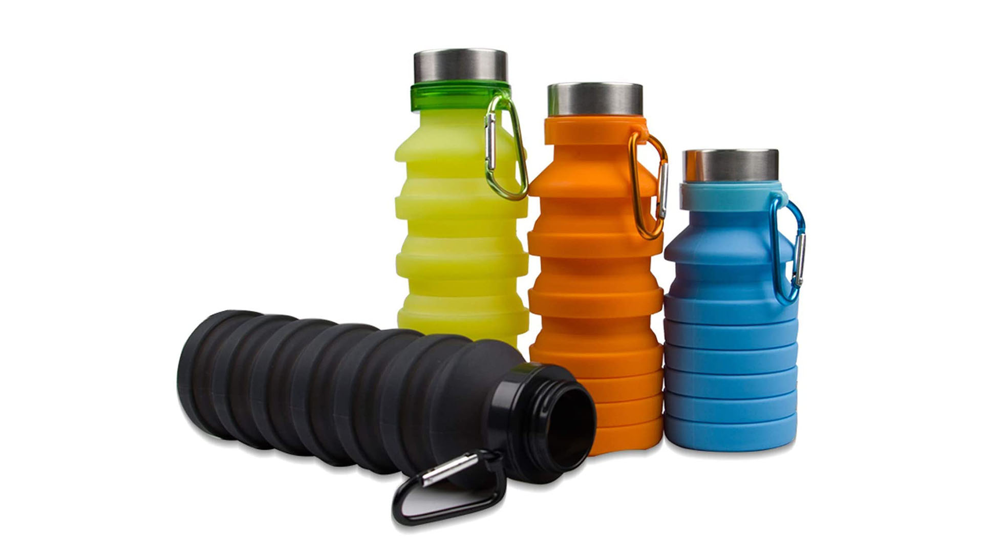 في الهواء الطلق السفر الرياضة قابل للطي سيليكون زجاجة مياه تسرب سيليكون شرب زجاجة قابلة للطي قابلة لإعادة الاستخدام للمسافر المشي التخييم التنزه DH-SILICONE