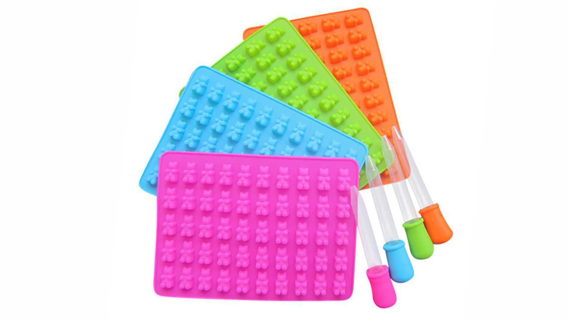 Professional 53 Cavities Silicone Gummy Bear Candy Molds with a Dropper Making Gummy Candy Chocolate with Your Kids Together DH Silicone