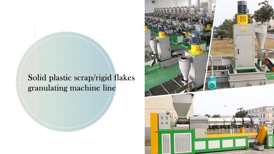 Solid Plastic Scrap/Rigid Flakes Granulating Machine Line